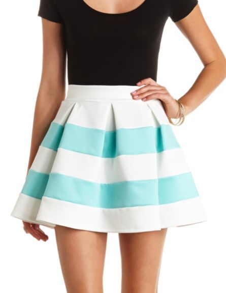 80aa07101f Pleated & Striped Skater Skirt: Charlotte Russe | Charlotte Russe ...