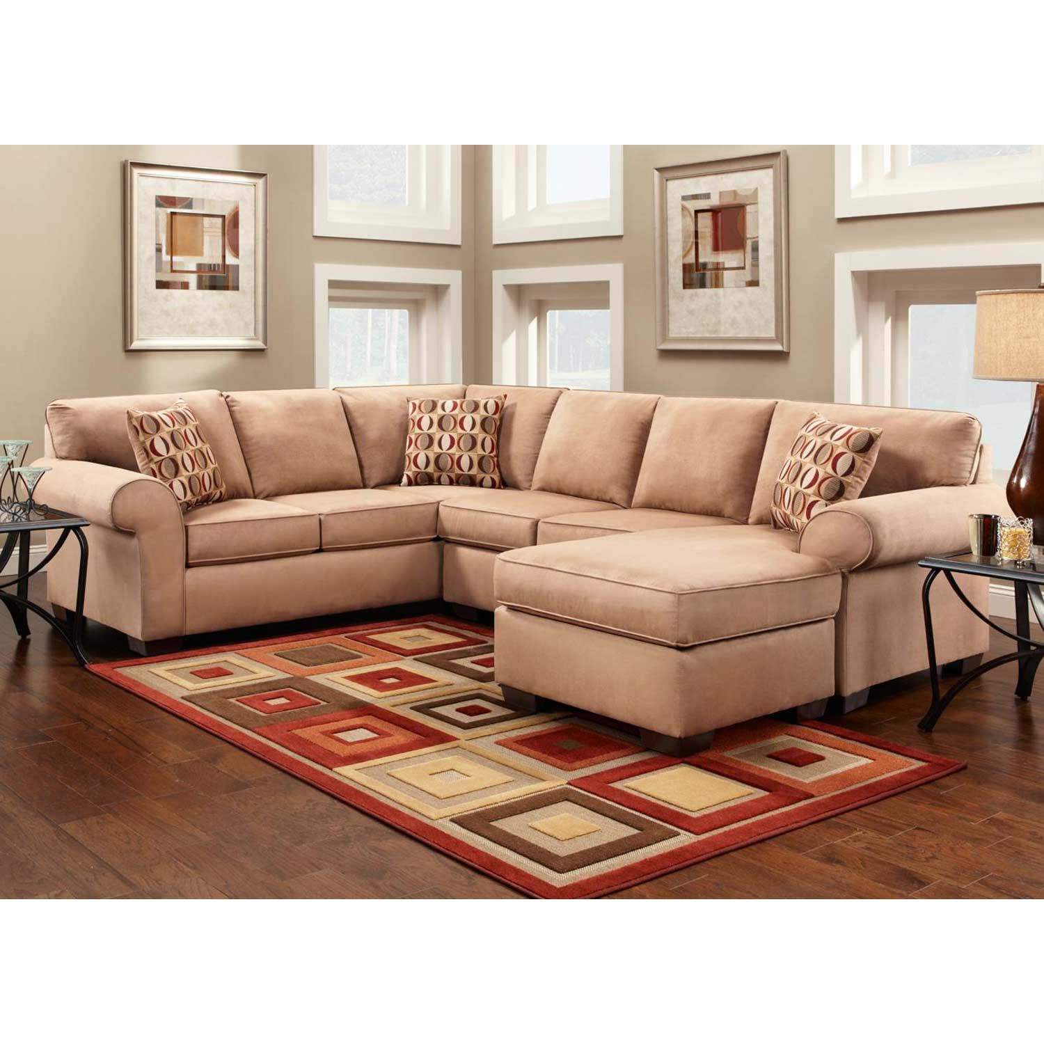 Allegany Microfiber Chaise Sectional Sofa Patriot Mocha Sectional Sofa Couch Sectional Sofa Sectional