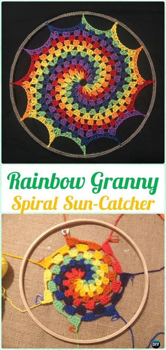 Crochet Rainbow Granny Spiral Sun-Catcher Free Pattern - Crochet ...