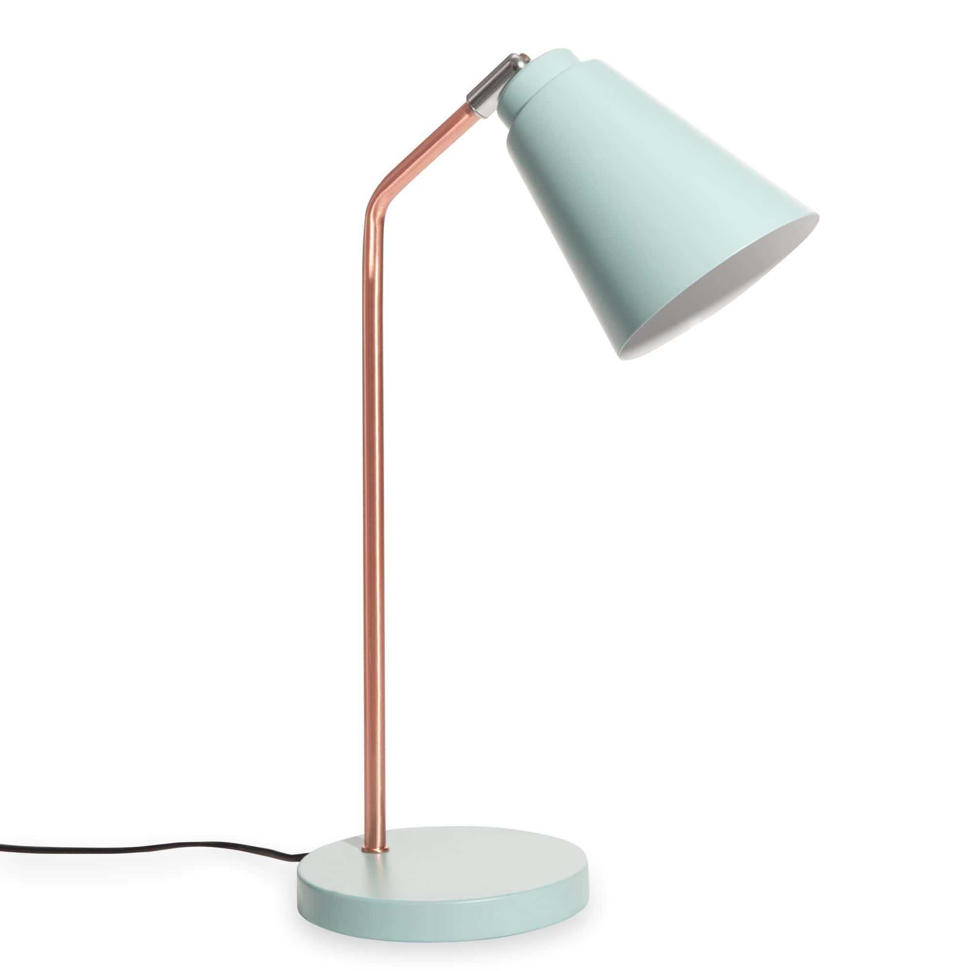 Mdm Lampe De Bureau En Metal Cuivre Et Bleu Clair Jessie 30 00 Lampe De Bureau Lampes Bleues Luminaire Maison Du Monde