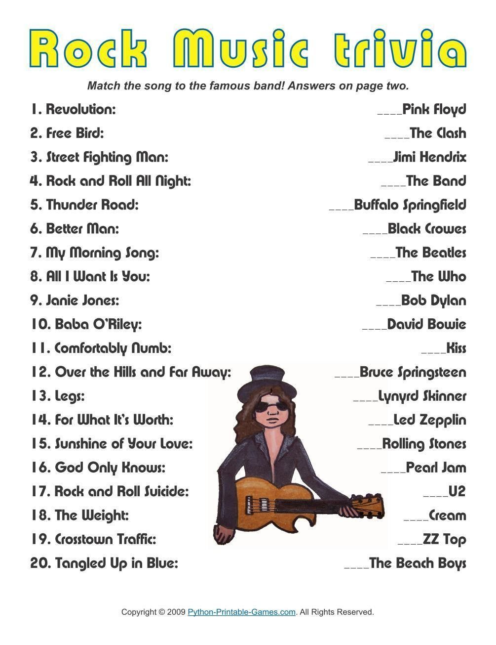 Pop Culture Games: Rock Music Trivia | Music themed parties, Music trivia, Music party