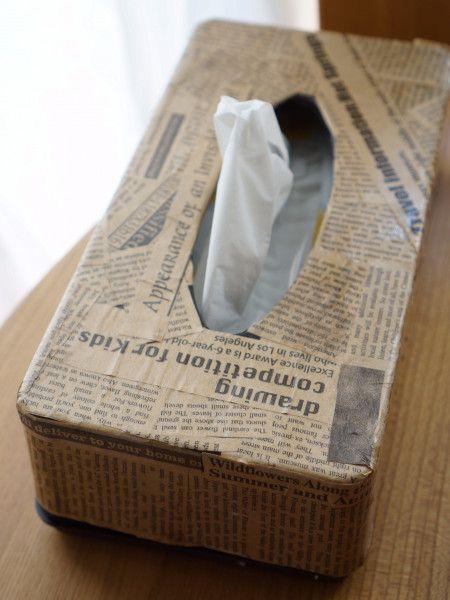 100均包装紙でティッシュケースをデコパージュ デコパージュ ティッシュケース ティッシュ