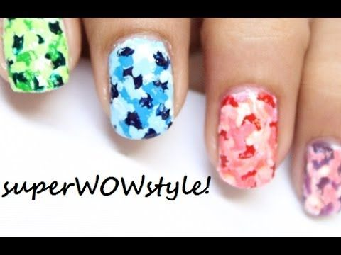 Colorful Camouflage Nails With Toothpick No Tools Nail Art