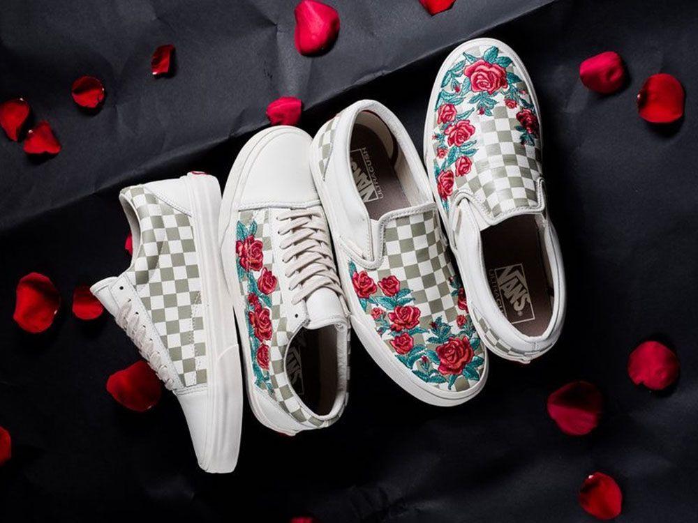 """Trampki 2018 dostępny buty do biegania Vans Vault wypuszcza nowy zestaw """"Rose Embroidery"""" Pack ..."""
