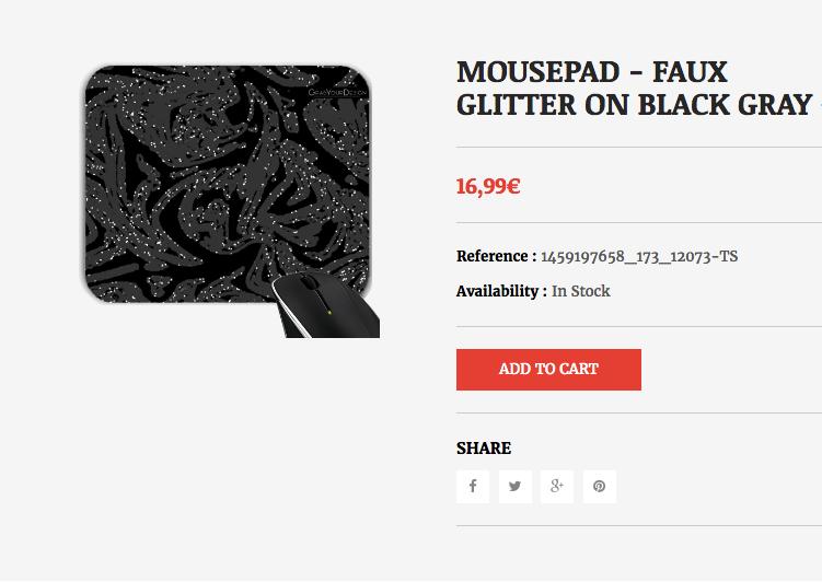 MOUSEPAD - FAUX GLITTER ON BLACK GRAY  #grabyourdesign #design #blackgray #black #gray #glitter #faux #mousepad