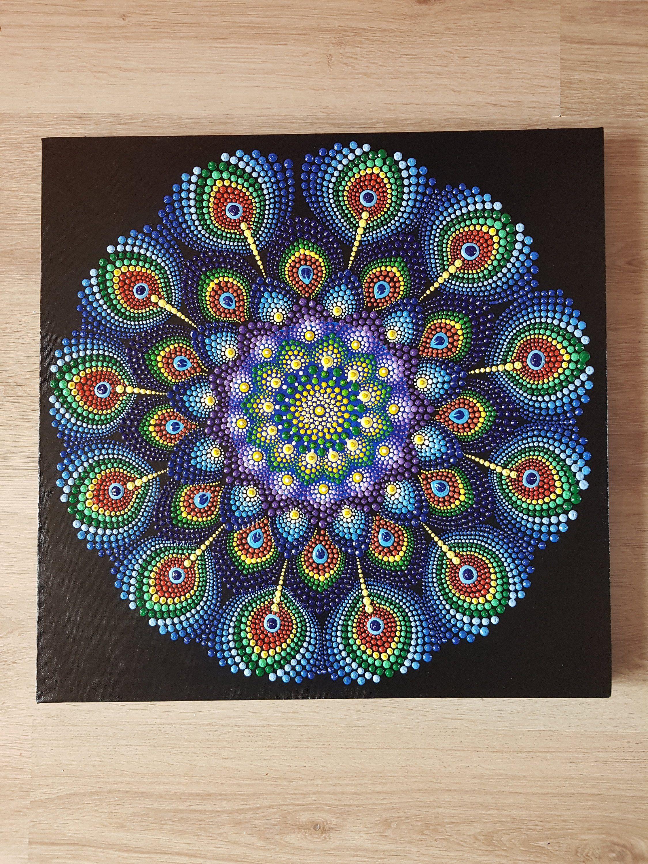 Mandala Peacock On Canvas | Mandala | Dot art painting