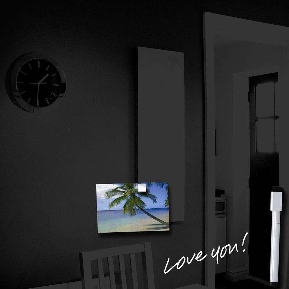 Magnetic Glass Memo Board, 350 x 350mm, Black   Staples®