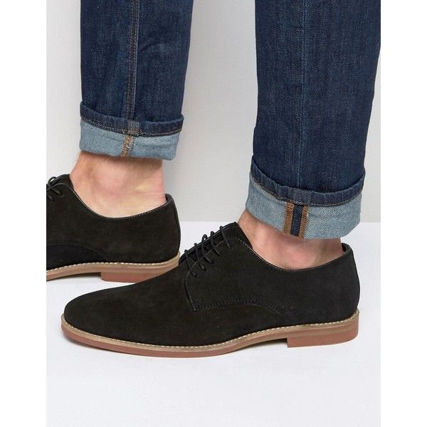 ASOS Derby Shoes in Black Suede With Colored Sole
