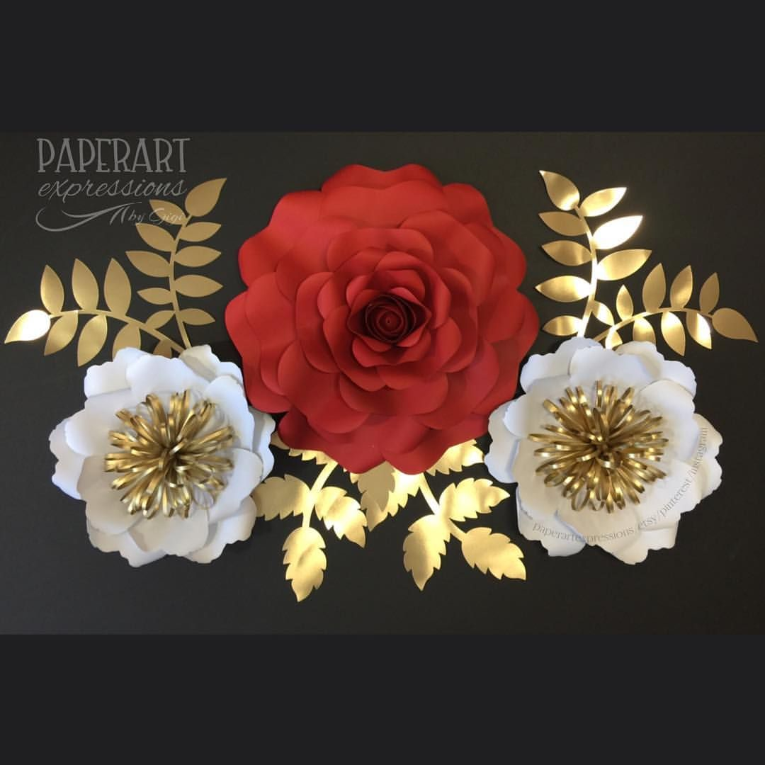 Cheryl Flower Set  Red white and gold   handmadeflower