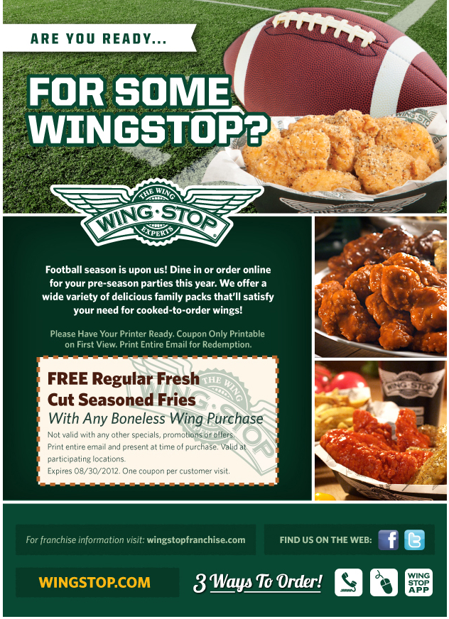 Free Seasoned Fries With Your Boneless Wings At Wing Stop Coupon Via