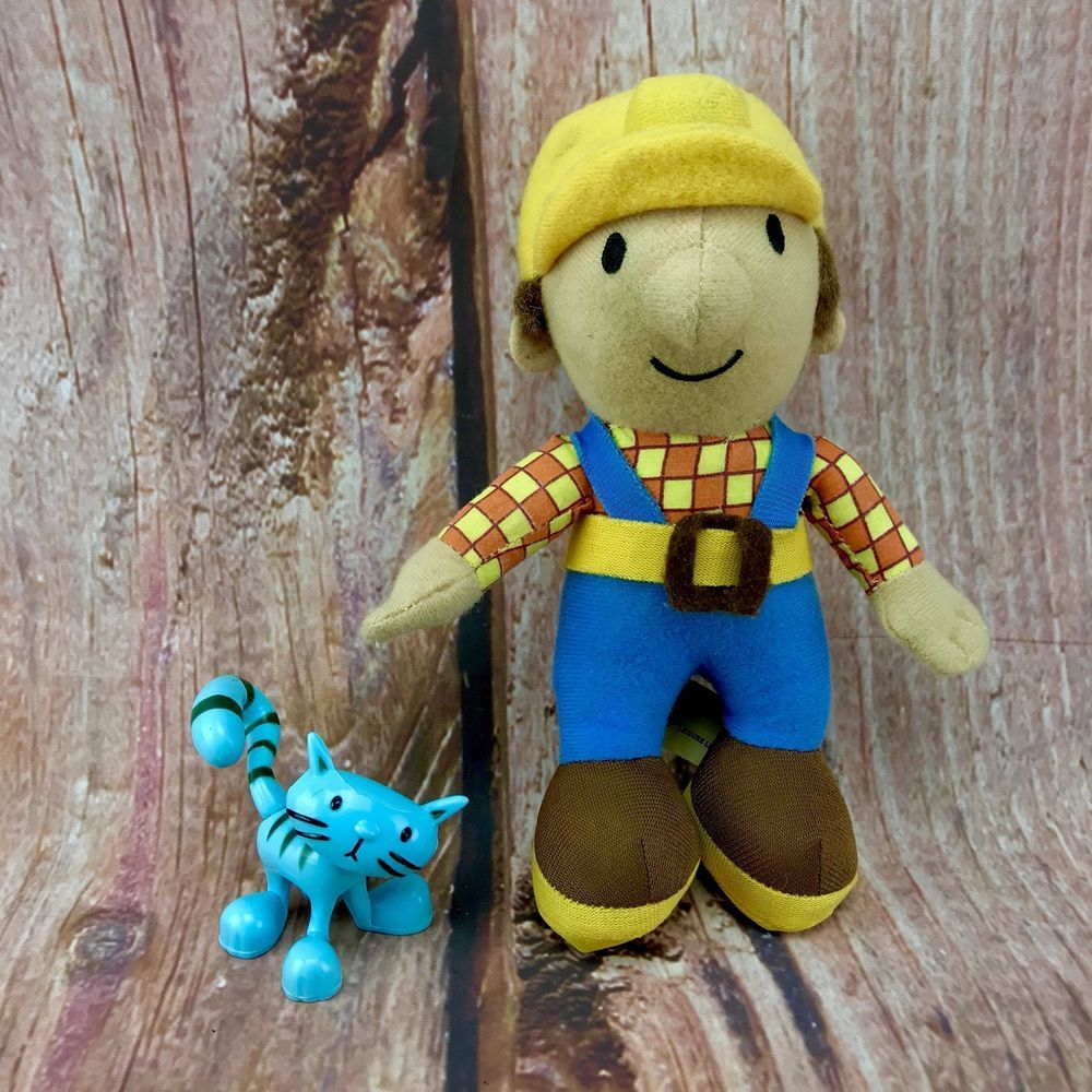 "10"" Bob The Builder soft toy Teddy & Cat pilchard Bundle"