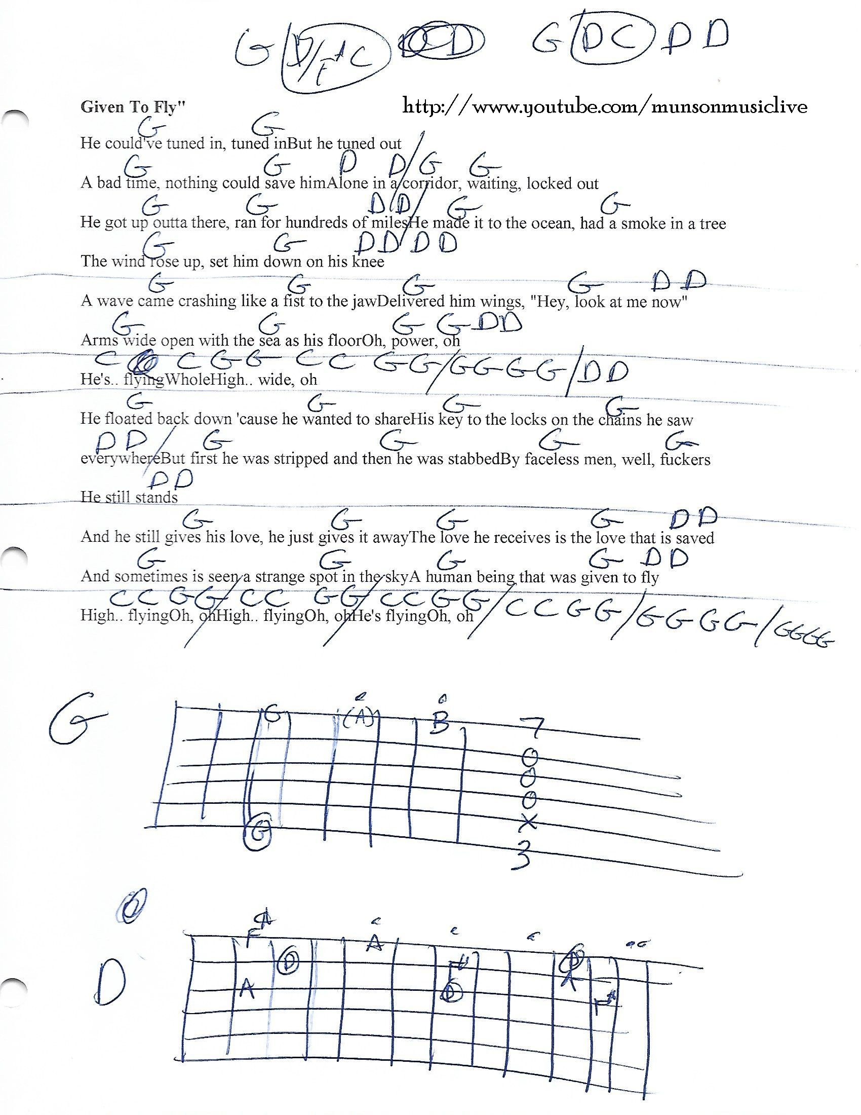 Given To Fly Pearl Jam Guitar Chord Chart Guitar Lesson Chord