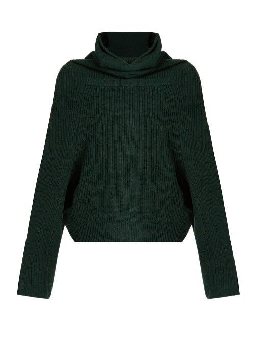 Toga Roll-neck ribbed-knit wool sweater
