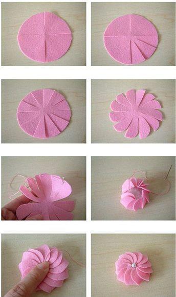 Learn How To Embroider A Ribbon Rose вышиваем объемную розу лентами Craftidea Org Craftidea Org Manualidades Flores De Cinta Flores De Fieltro