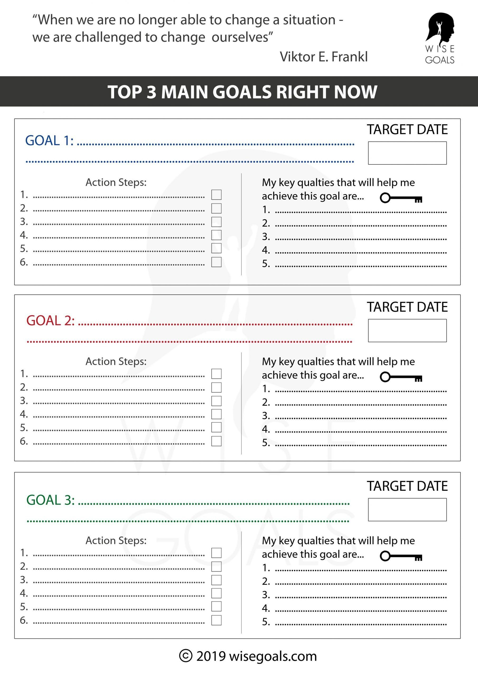 Wildly Important Goals Worksheet Steps To Achieving My