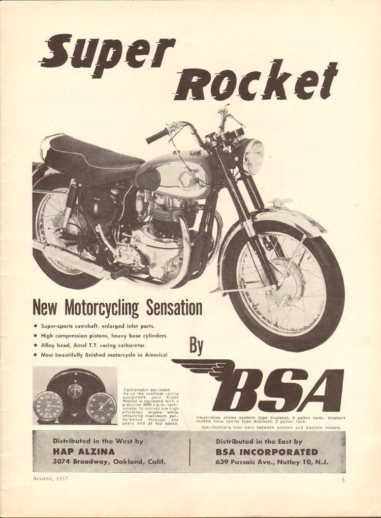 1957 BSA Super Rocket 11u0027u0027 X 14u0027u0027 Matted Vintage Motorcycle Print Ad Art  Poster