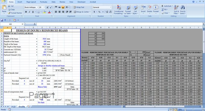 Spreadsheet for designing Doubly Reinforced Beam | Civil measures in