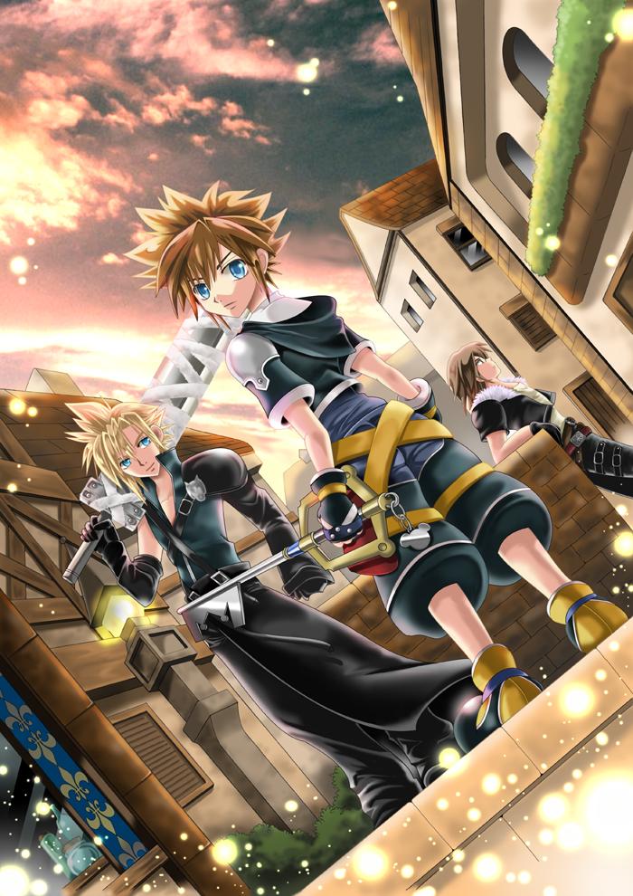 17 Sora Cloud Leon Radiant Garden Png 700 990 Kingdom Hearts Kingdom Hearts 3 Sora Kingdom Hearts