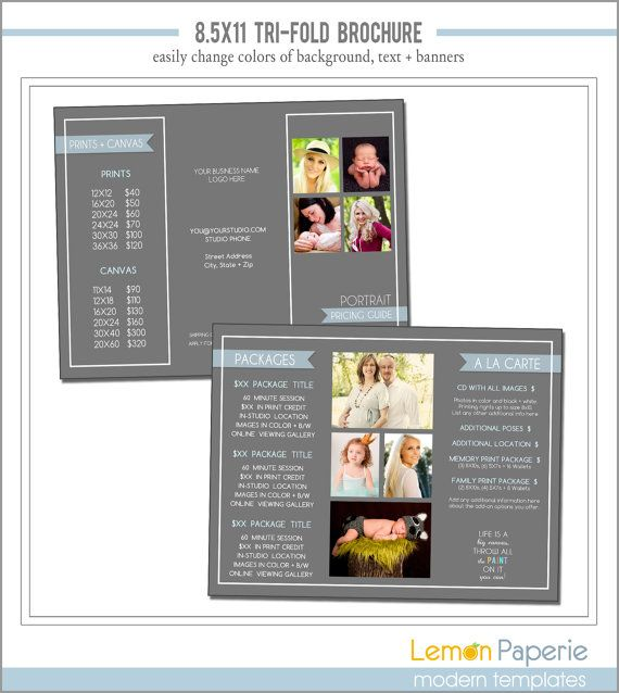 X TriFold Marketing Brochure Template Instant Download