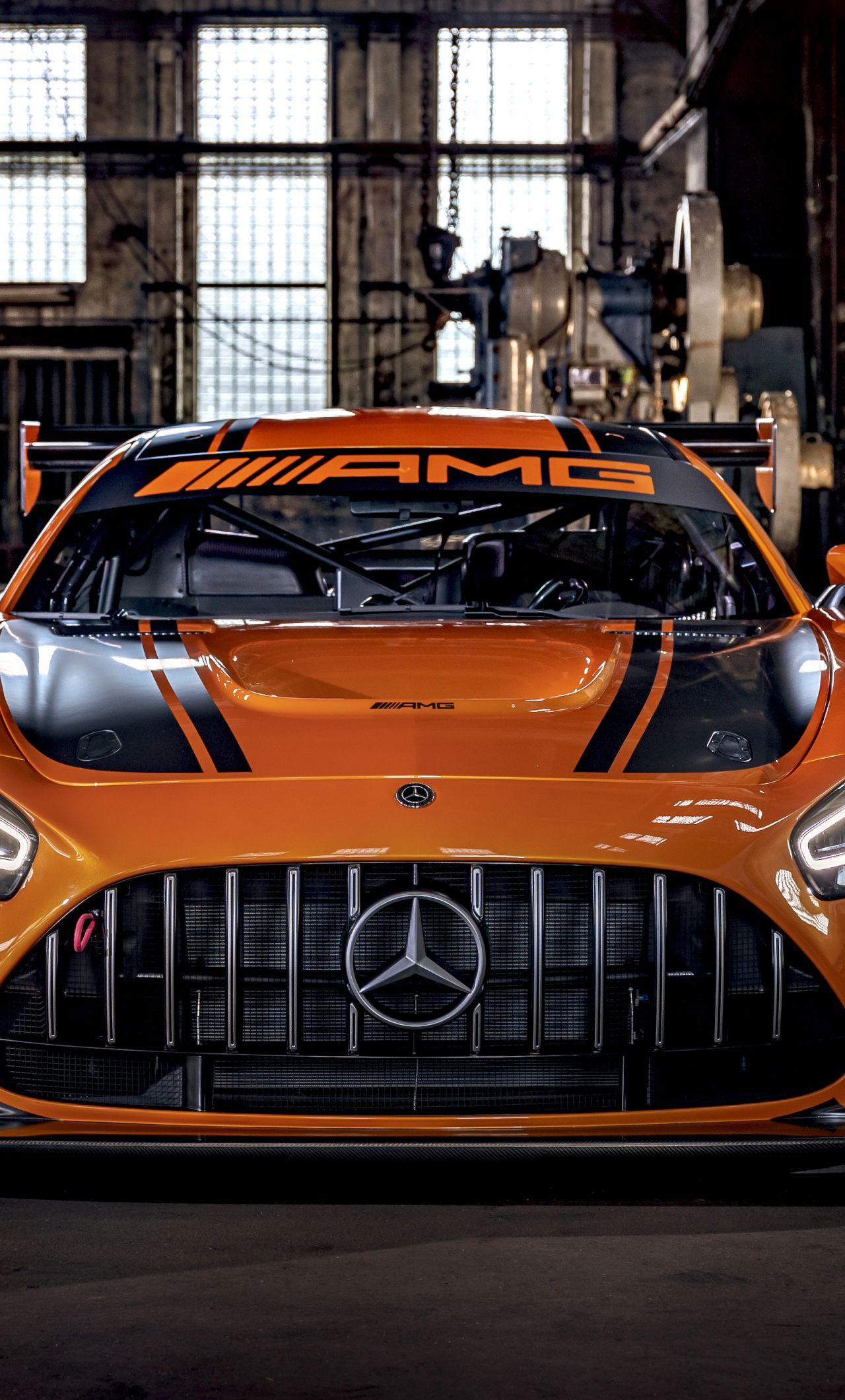 1280x2120 Mercedes Amg Gt3 Orange Car 2019 Wallpaper Mercedes