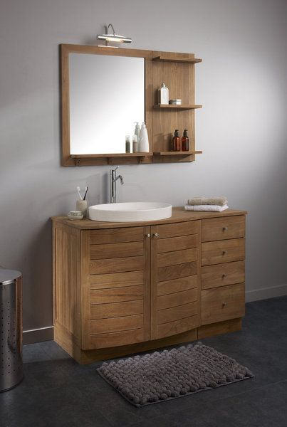Ce miroir est associ 3 tablettes en teck certifi tft Meuble salle de bain 80 cm leroy merlin