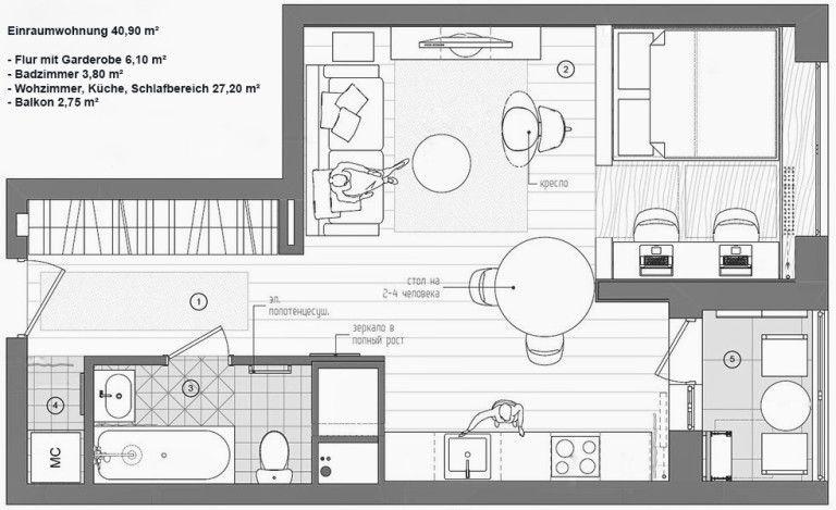 Kleine wohnung modern und funktionell einrichten in 2018 for Grundriss schlafzimmer einrichten