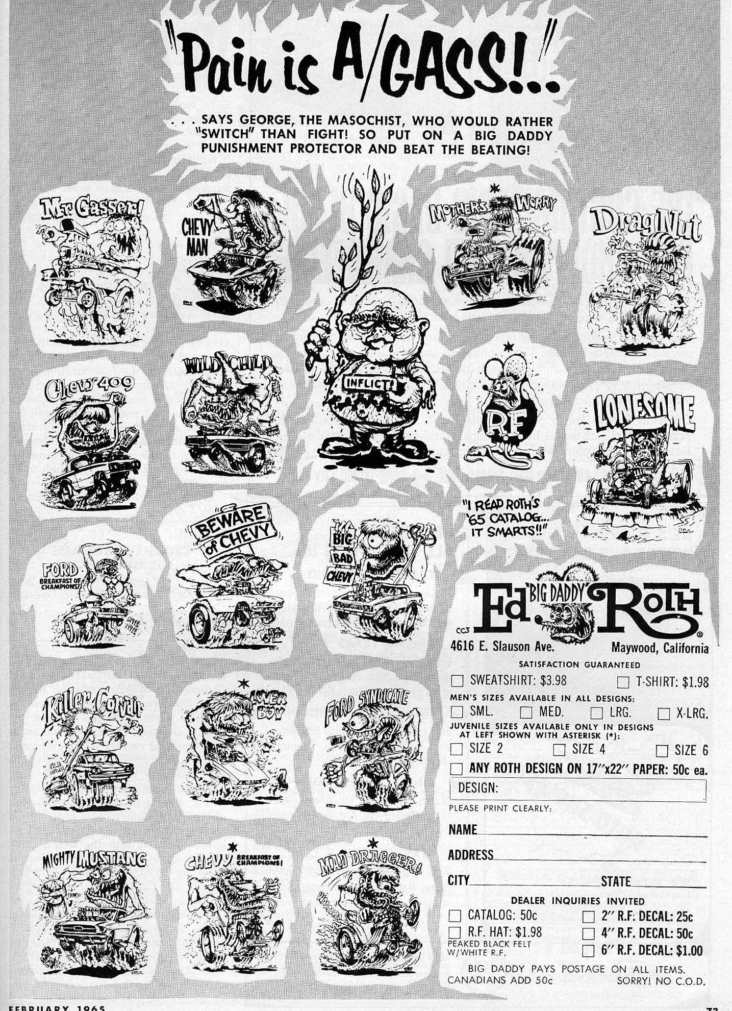 Ed Roth Designs Feb '65 Car Craft magazine Big daddy
