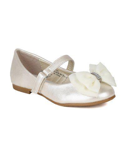 Leatherette Fabric Bow Decor Ballerina Ballet Flat Black AH64 Toddler//Little Girl//Big Girl