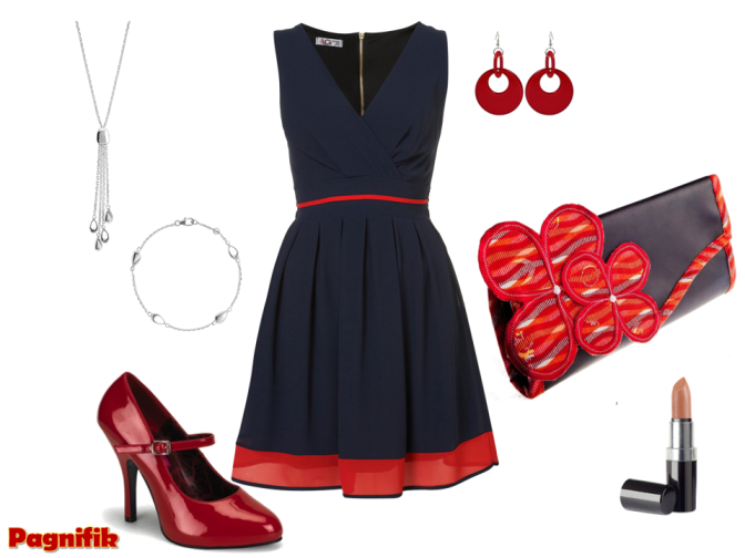 Robe bleu marine et accessoires rouge