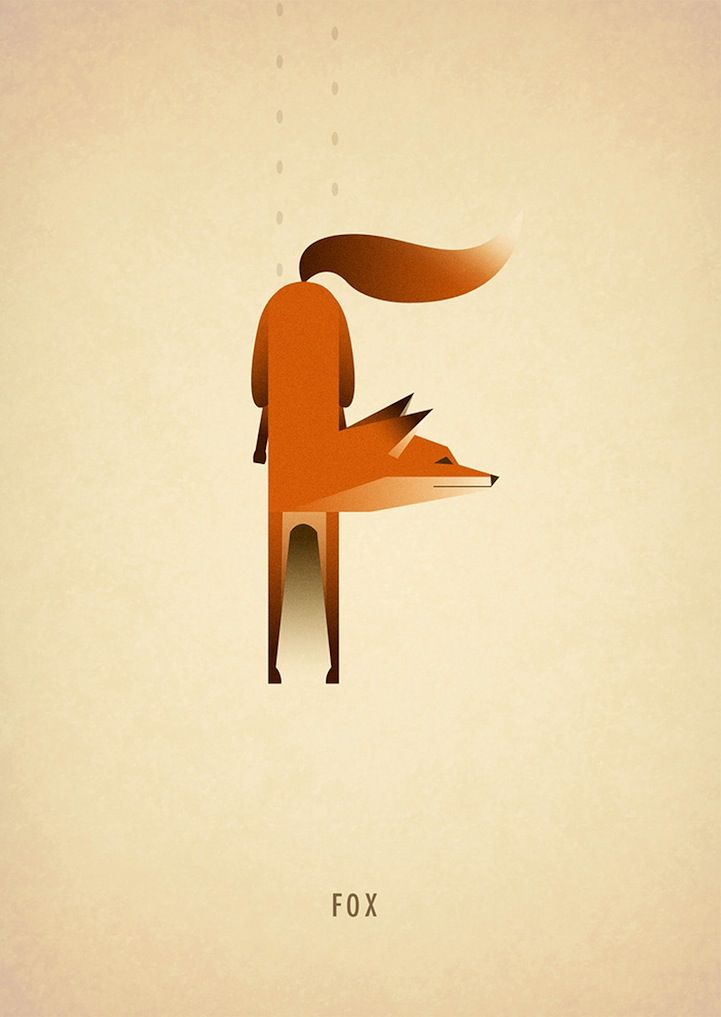 F is for fox. Animals form Whimsical Alphabet Letters