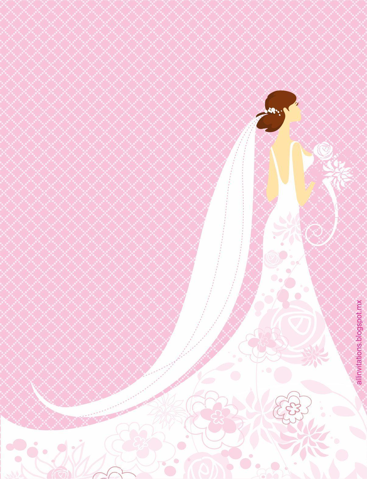 Invitación Despedida de Soltera con novia posando con vestido ...