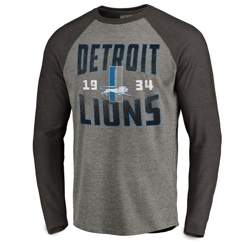 90141574fa7 Men s NFL Pro Line by Fanatics Branded Ash Detroit Lions Timeless  Collection Antique Stack Big