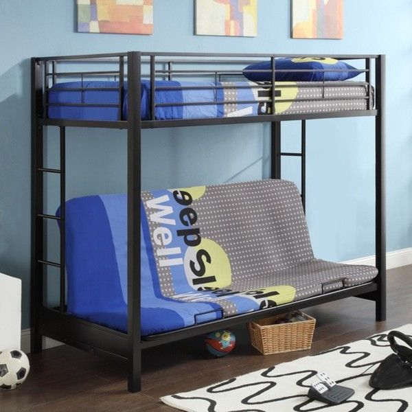Black Metal Twin over Full-size Futon Bunk Bed Frame | Twin Over ...
