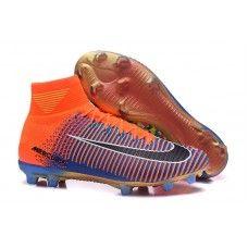 6d17d26f32cc3 Ultimas Botas De Futbol Nike Niños Mercurial Superfly V EA Sports FG Azul  Naranja Negro