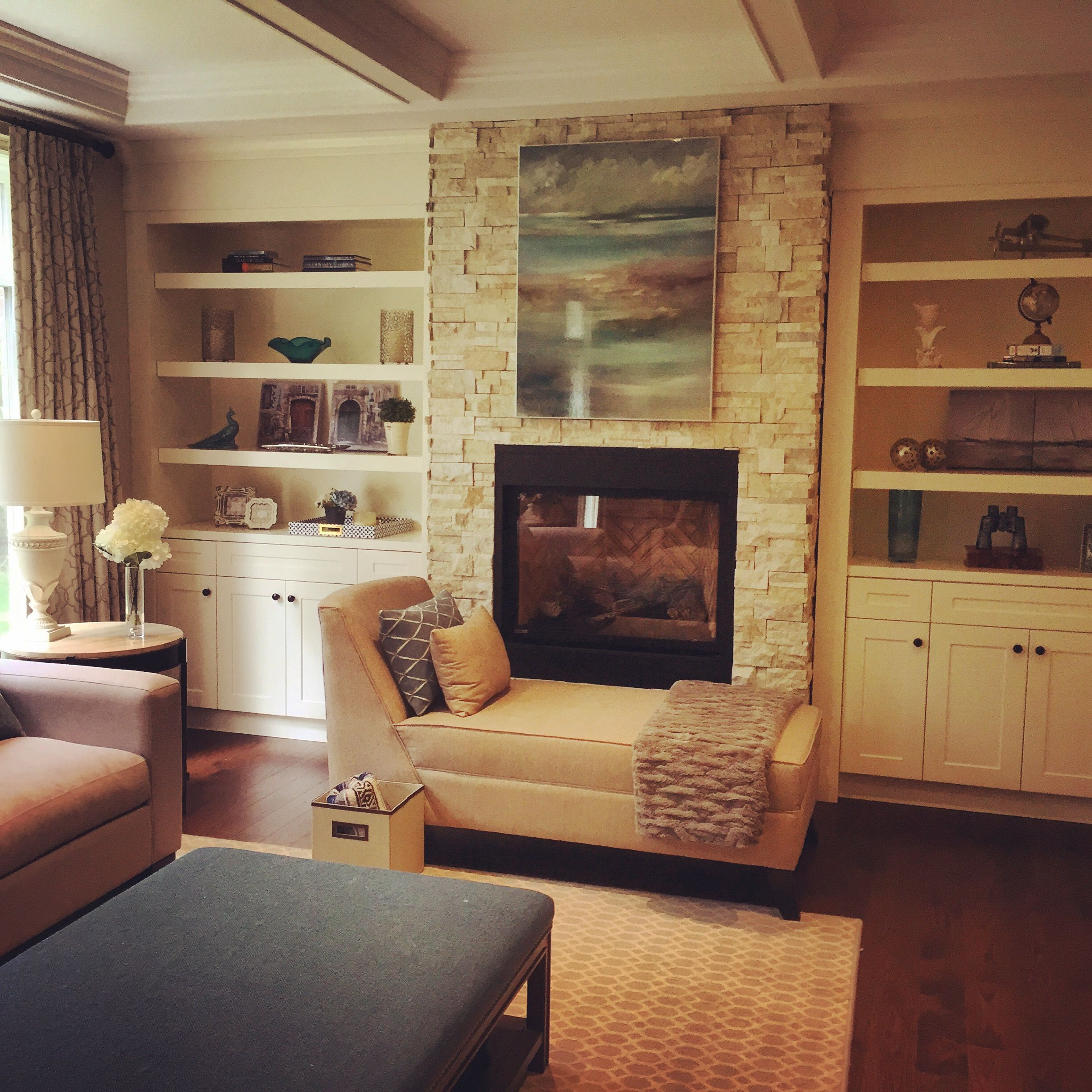 Stone Fireplace With Built In Cabinets: Built In Cabinets, Stone Fireplace And Custom Furnishings