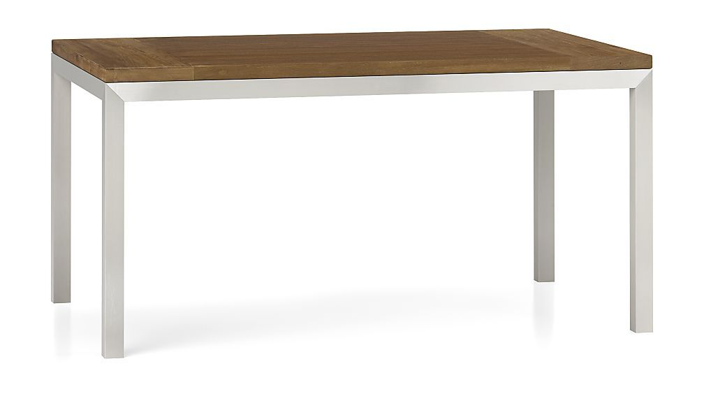 Teak Top Stainless Steel Base 60x36 Parsons Dining Table Crate