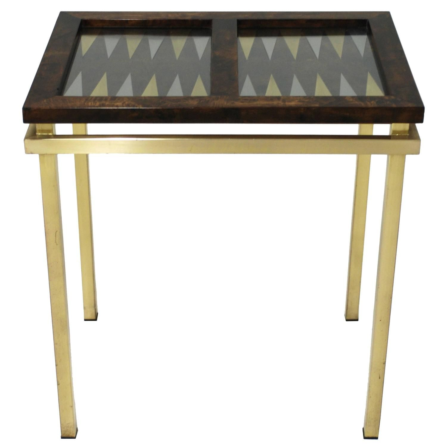 burl wood and brass backgammon game table backgammon game game