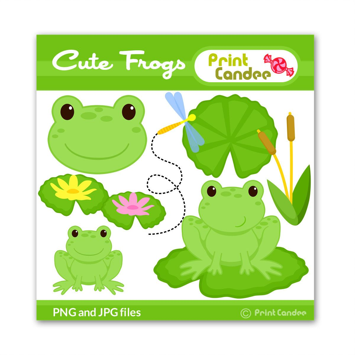 Cute Frogs Buy 2 Get 1 Free Digital Clip Art Personal And