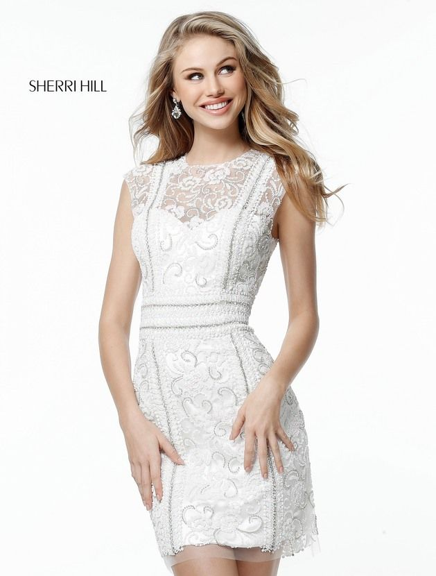 Cap Sleeves Ivory High Neck 51287 Keyhole Back Short Beaded Dress For  Homecoming by Sherri Hill