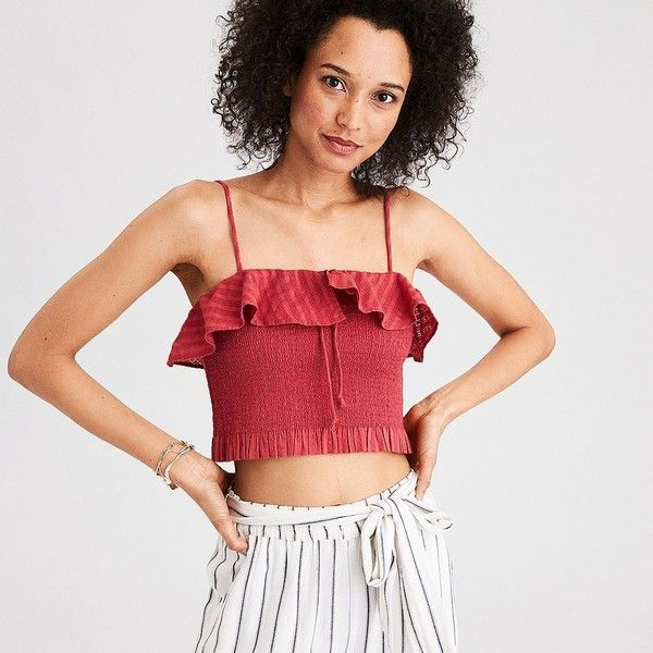 5600beb1d8e16e AE Smocked Drawstring Tank Top ($30) ❤ liked on Polyvore featuring tops,  red, off-shoulder tops, striped crop top, lace off the shoulder top, striped  ...