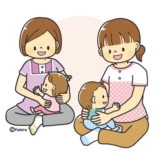 産後フィットネス・赤ちゃん教室のイメージイラスト(カラー ...