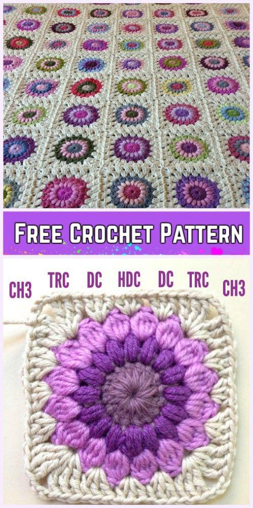 Crochet Sunburst Granny Square Blanket Free Pattern | Crochet ...