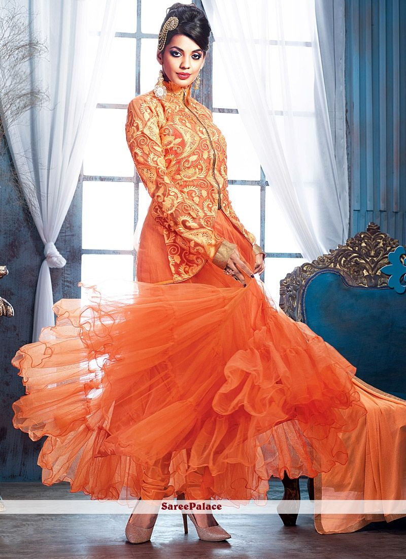 Mugdha Godse Style Orange Ankle Length Anarkali Suit