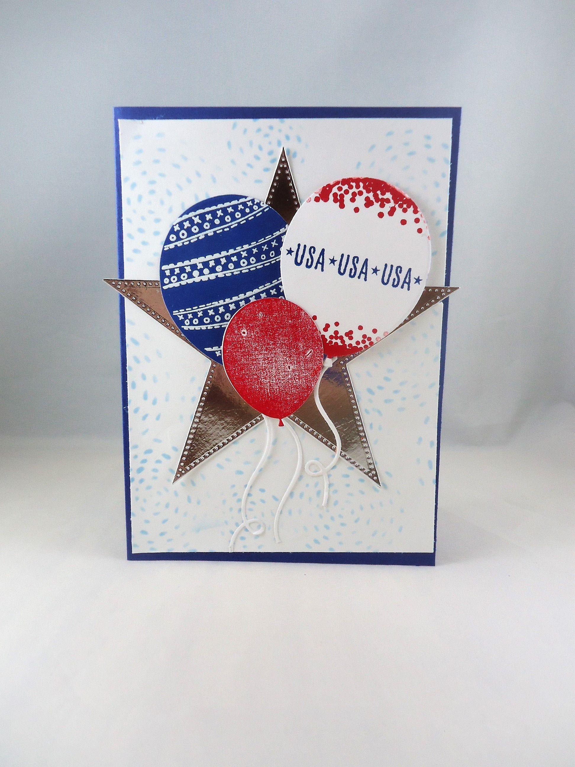 Celebrate Usa Handmade Card Red White Blue Balloon Card Etsy Cards Handmade Handmade Birthday Cards Greeting Cards Handmade