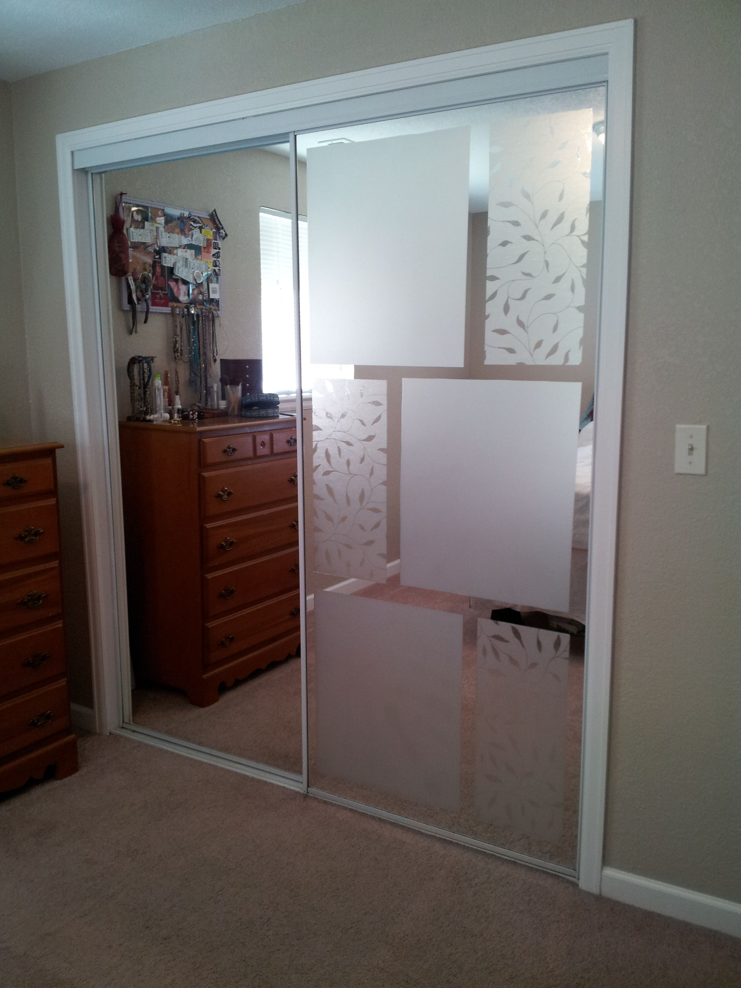 Bedroom Door Covers Used Adhesive Free Window Frosting To Cover Up Mirrored