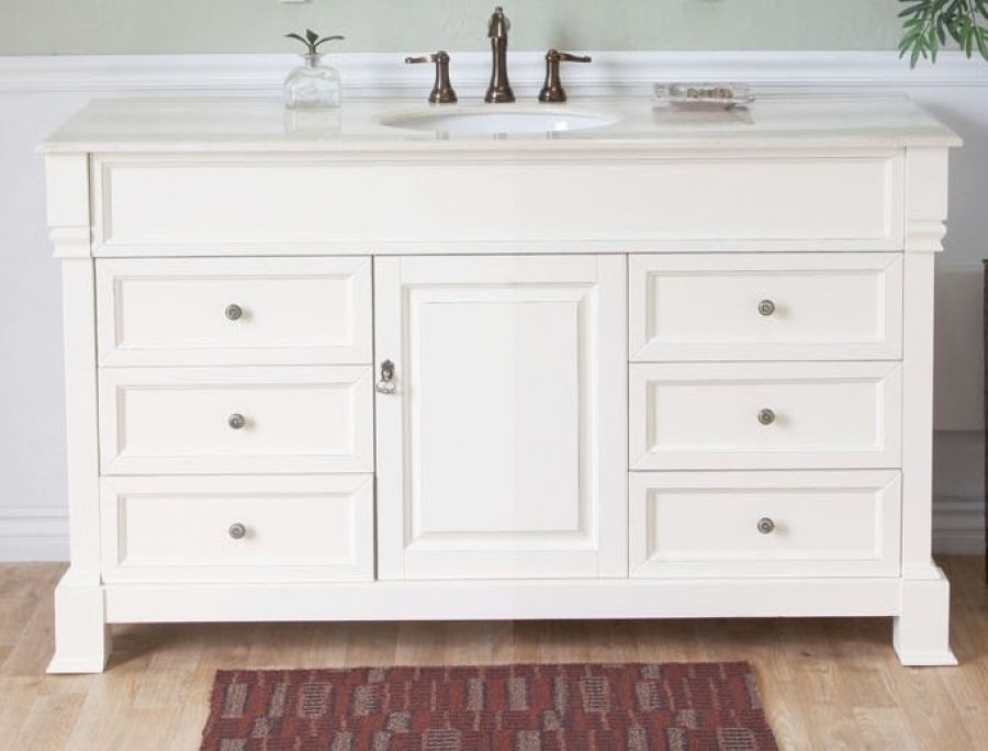 Gallery For Photographers Cream White on white counters and cabinets make this inch single sink bathroom vanity a