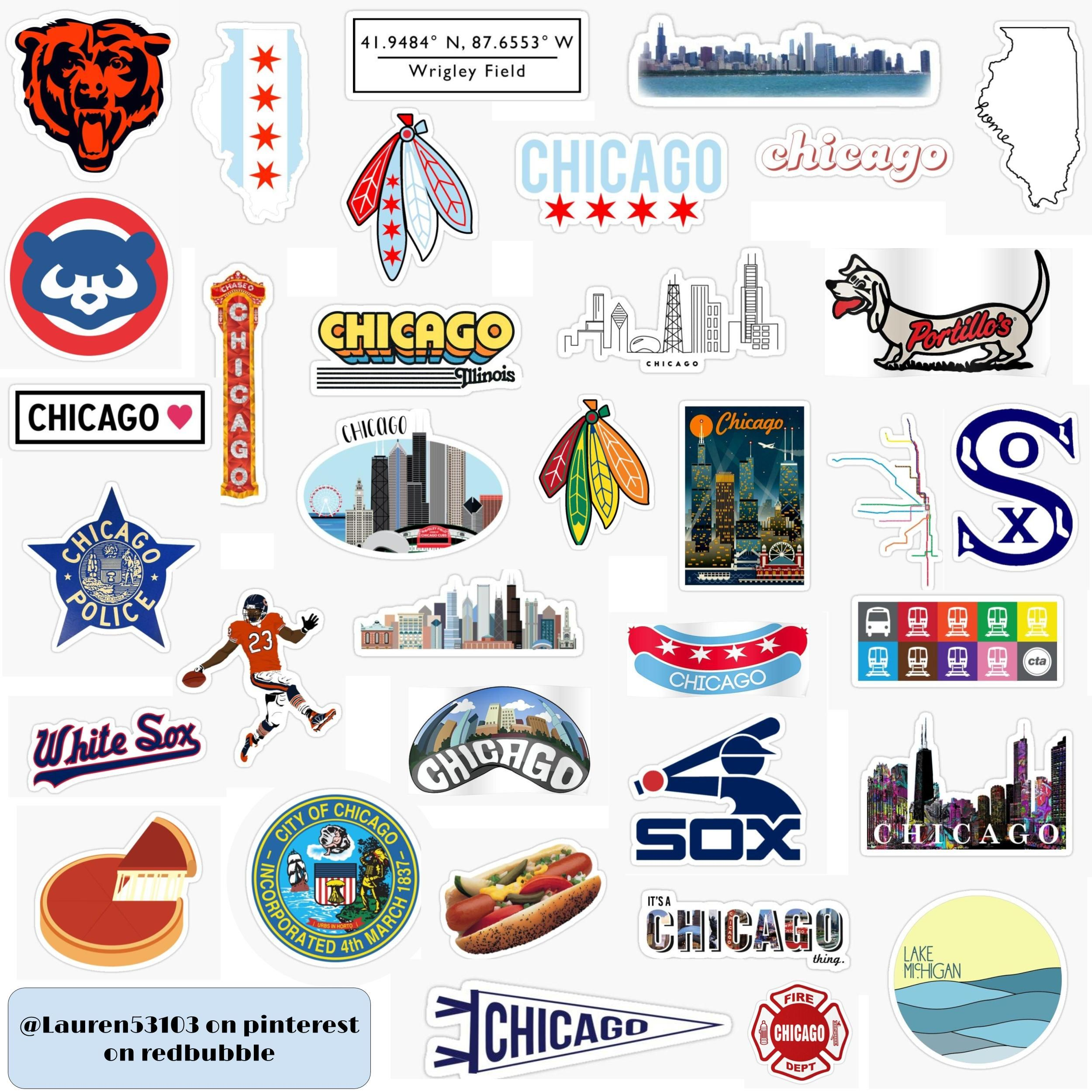 Chicago Stickers Birthday Cards Phone Case Stickers Hydroflask Stickers [ 2500 x 2500 Pixel ]