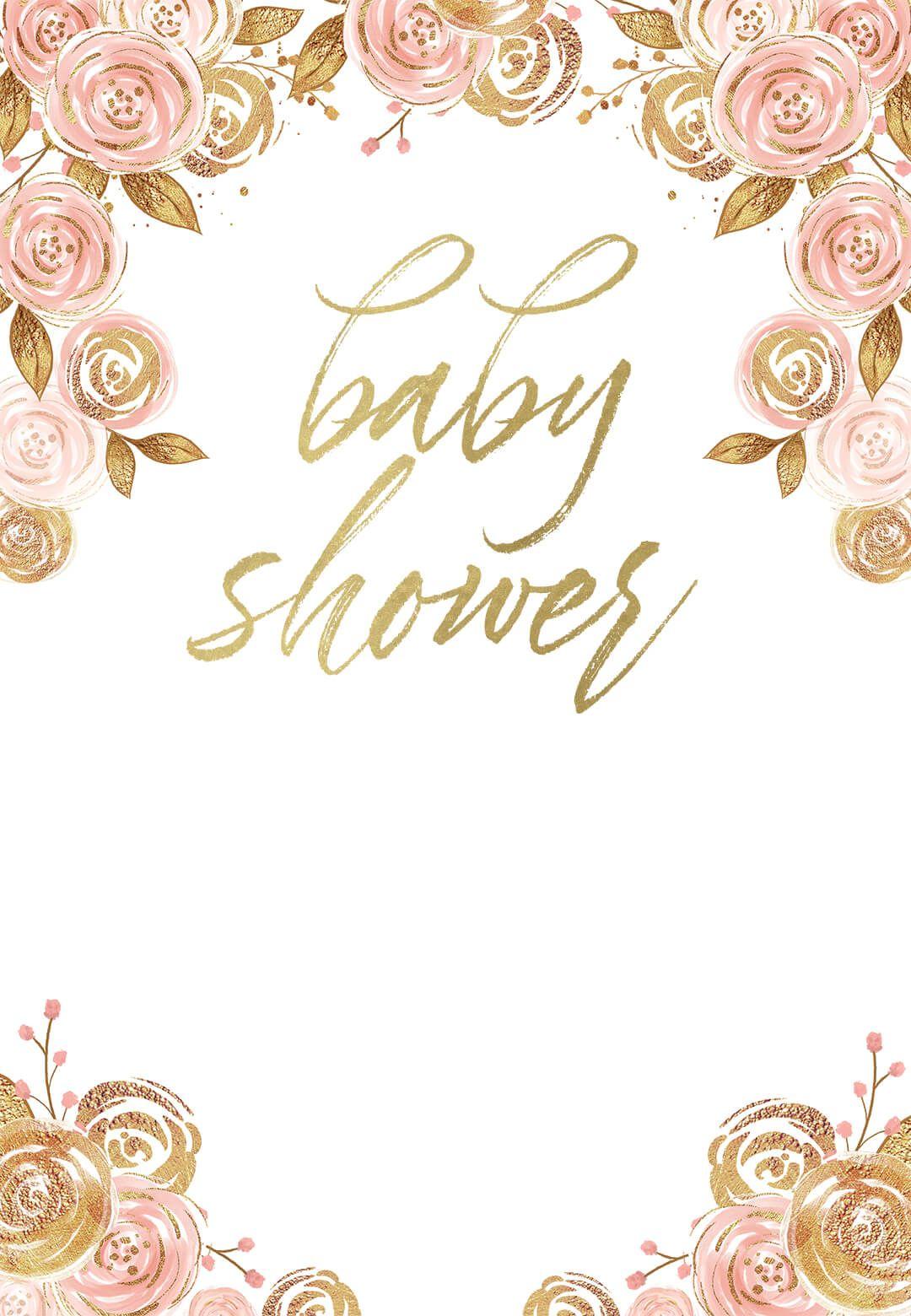 Pink And Gold Floral Invitacion Para Baby Shower Greetings Island Baby Shower Greetings Floral Baby Shower Invitations Virtual Baby Shower Invitation