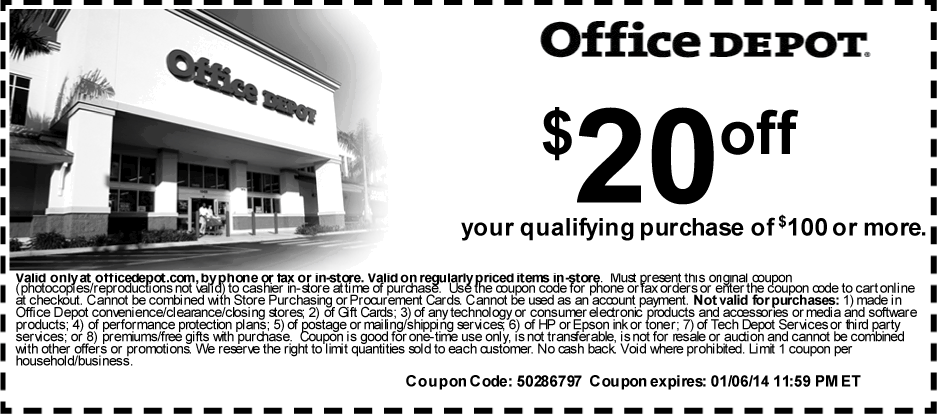 Office Depot Printable Coupon To Save  Off Out Of  Or More