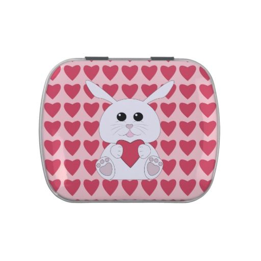 Customizable Cute White bunny Valentines Hearts Jelly Belly Tins